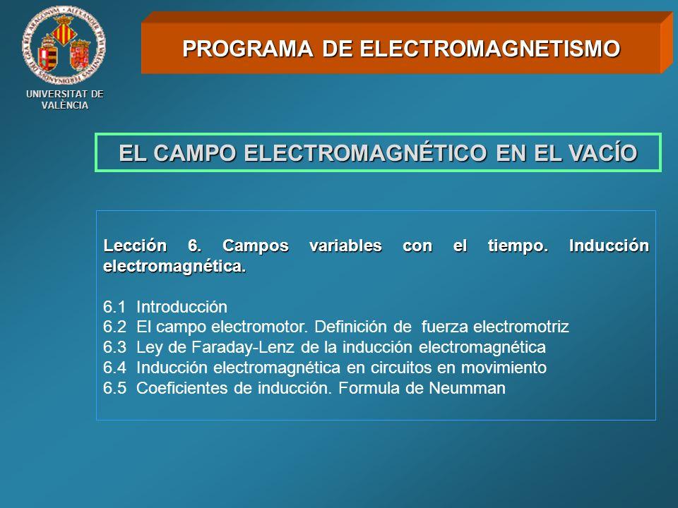 UNIVERSITAT DE VALÈNCIA EL CAMPO ELECTROMAGNÉTICO EN EL VACÍO Lección 6. Campos variables con el tiempo. Inducción electromagnética. 6.1 Introducción
