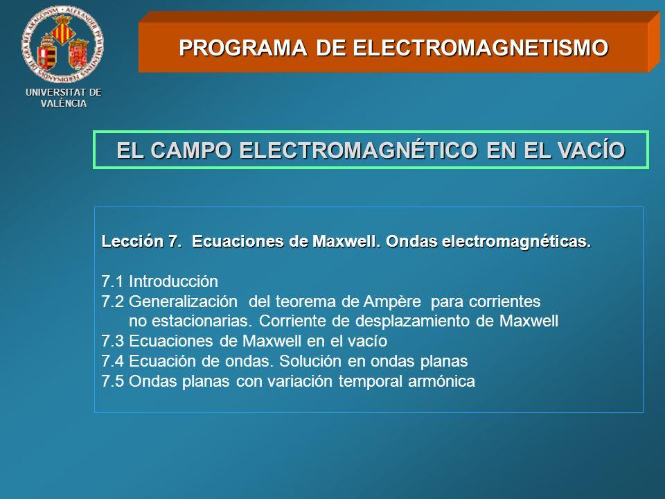 UNIVERSITAT DE VALÈNCIA EL CAMPO ELECTROMAGNÉTICO EN EL VACÍO Lección 7. Ecuaciones de Maxwell. Ondas electromagnéticas. 7.1 Introducción 7.2 Generali