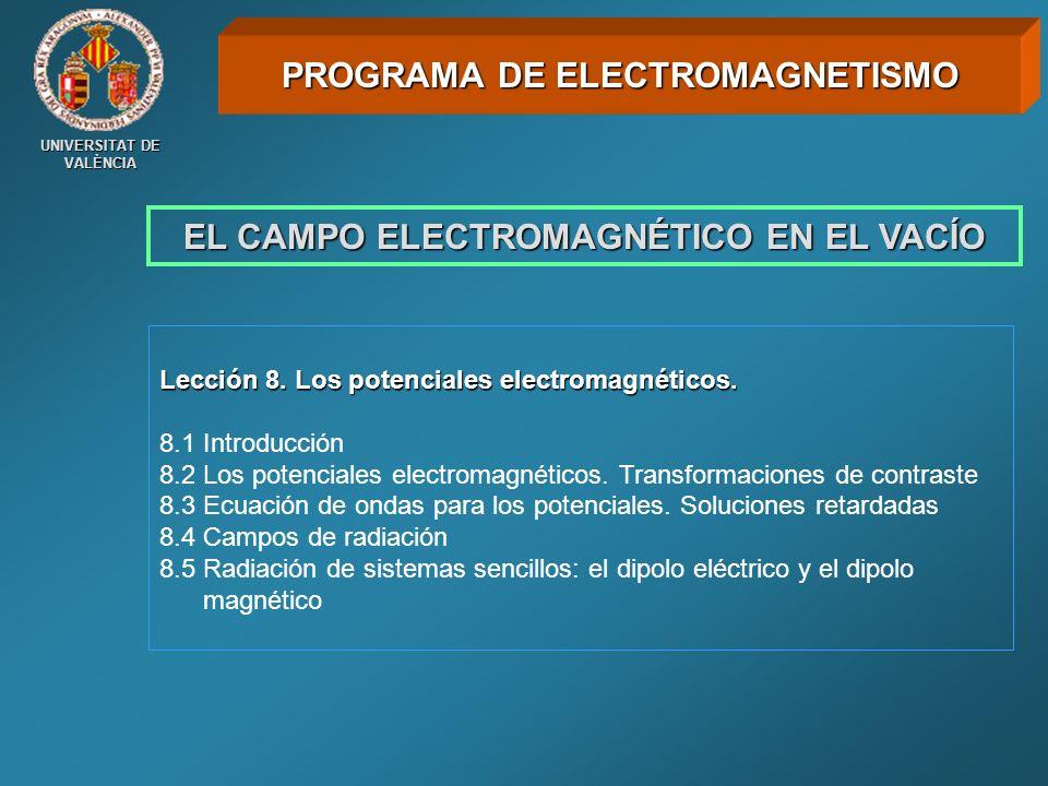 UNIVERSITAT DE VALÈNCIA EL CAMPO ELECTROMAGNÉTICO EN EL VACÍO Lección 8. Los potenciales electromagnéticos. 8.1 Introducción 8.2 Los potenciales elect