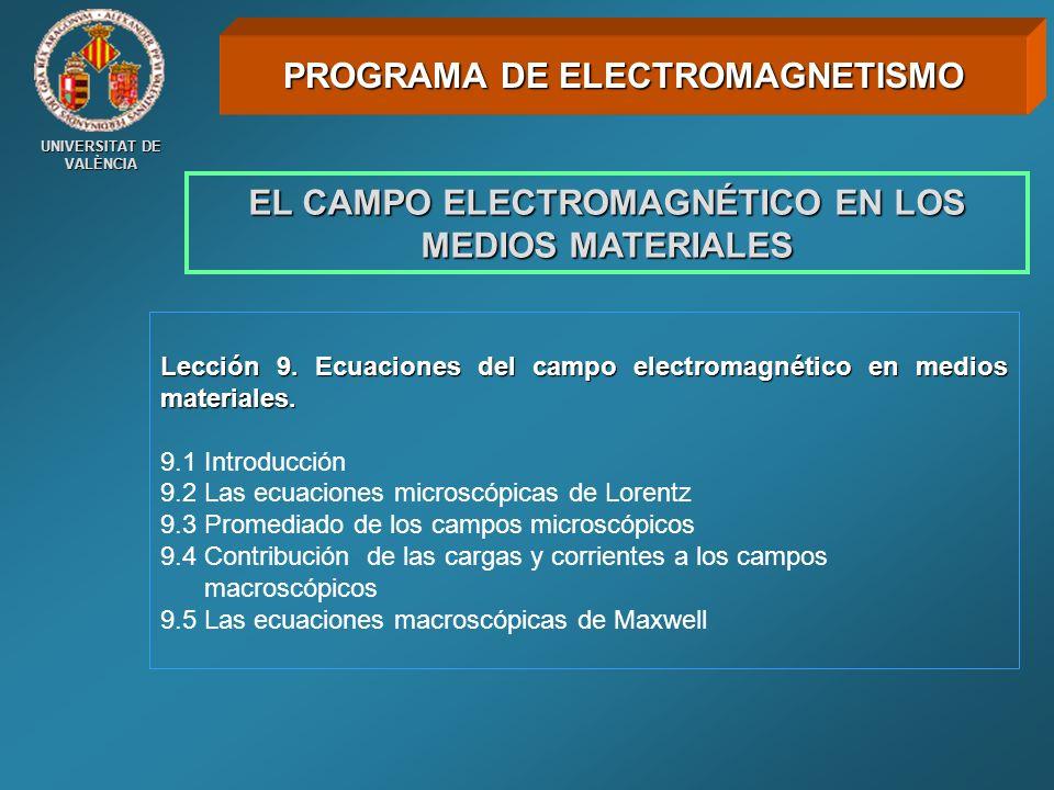 UNIVERSITAT DE VALÈNCIA Lección 9. Ecuaciones del campo electromagnético en medios materiales. 9.1 Introducción 9.2 Las ecuaciones microscópicas de Lo