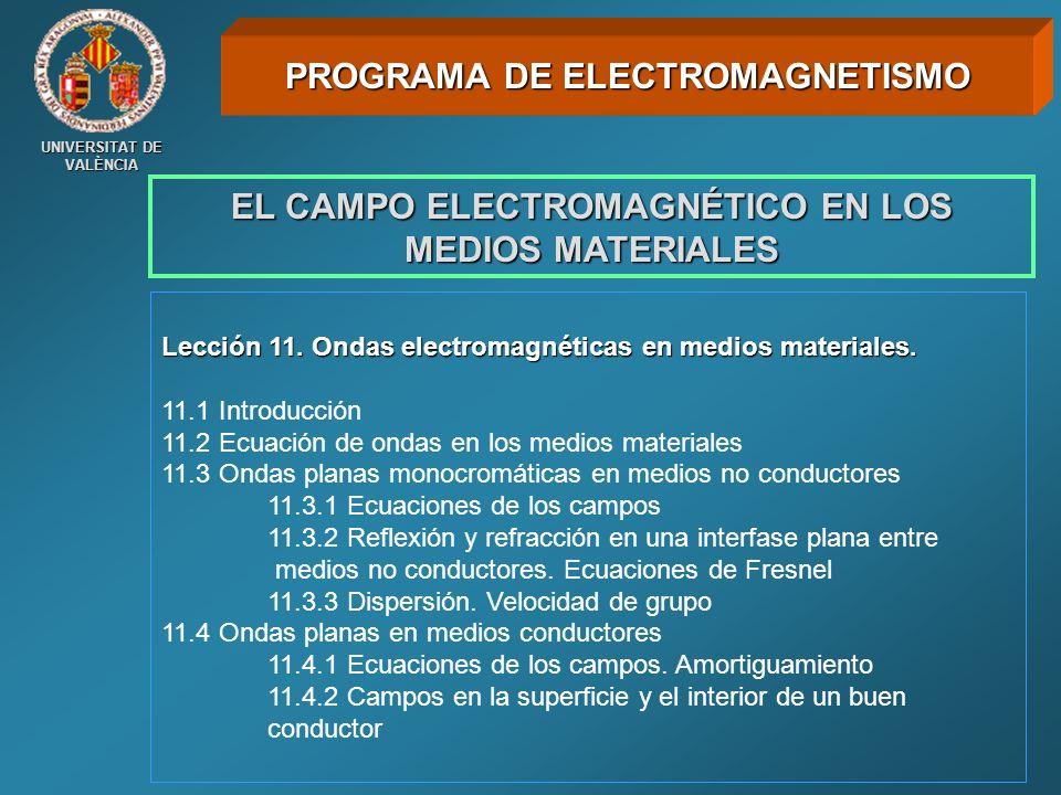 UNIVERSITAT DE VALÈNCIA EL CAMPO ELECTROMAGNÉTICO EN LOS MEDIOS MATERIALES Lección 11. Ondas electromagnéticas en medios materiales. 11.1 Introducción