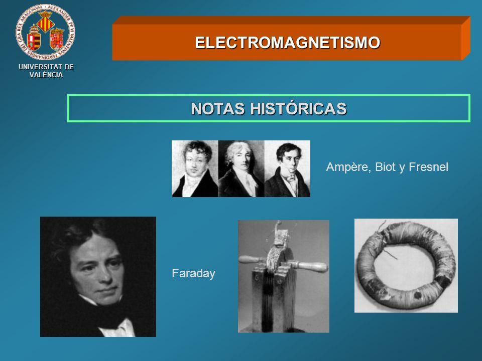 NOTAS HISTÓRICAS ELECTROMAGNETISMO Ampère, Biot y Fresnel Faraday