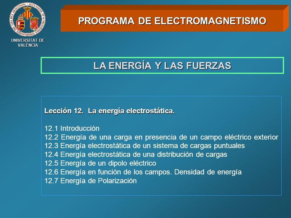 UNIVERSITAT DE VALÈNCIA LA ENERGÍA Y LAS FUERZAS Lección 12. La energía electrostática. 12.1 Introducción 12.2 Energía de una carga en presencia de un