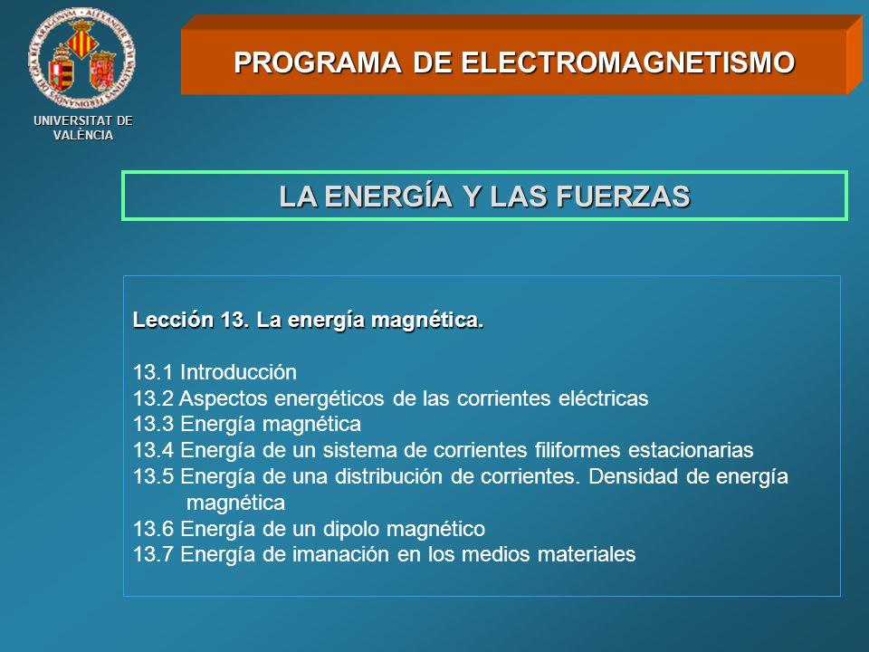 UNIVERSITAT DE VALÈNCIA LA ENERGÍA Y LAS FUERZAS Lección 13. La energía magnética. 13.1 Introducción 13.2 Aspectos energéticos de las corrientes eléct