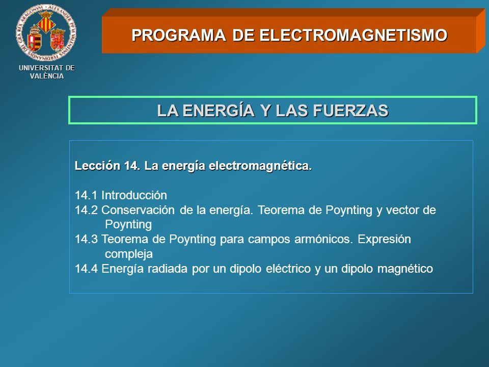 UNIVERSITAT DE VALÈNCIA LA ENERGÍA Y LAS FUERZAS Lección 14. La energía electromagnética. 14.1 Introducción 14.2 Conservación de la energía. Teorema d