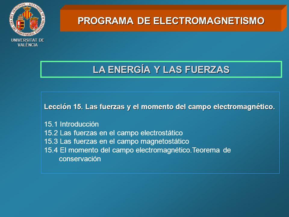UNIVERSITAT DE VALÈNCIA LA ENERGÍA Y LAS FUERZAS Lección 15. Las fuerzas y el momento del campo electromagnético. 15.1 Introducción 15.2 Las fuerzas e