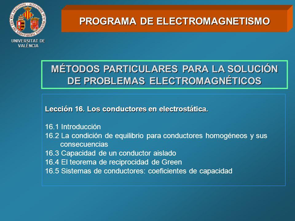 UNIVERSITAT DE VALÈNCIA MÉTODOS PARTICULARES PARA LA SOLUCIÓN DE PROBLEMAS ELECTROMAGNÉTICOS Lección 16. Los conductores en electrostática. 16.1 Intro