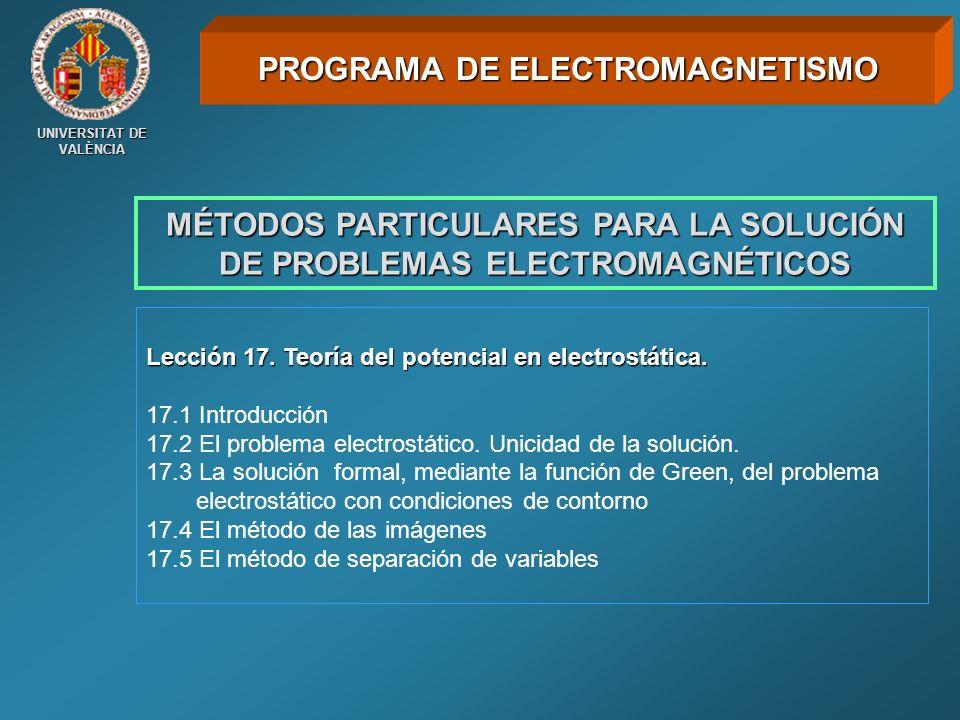 UNIVERSITAT DE VALÈNCIA MÉTODOS PARTICULARES PARA LA SOLUCIÓN DE PROBLEMAS ELECTROMAGNÉTICOS Lección 17. Teoría del potencial en electrostática. 17.1