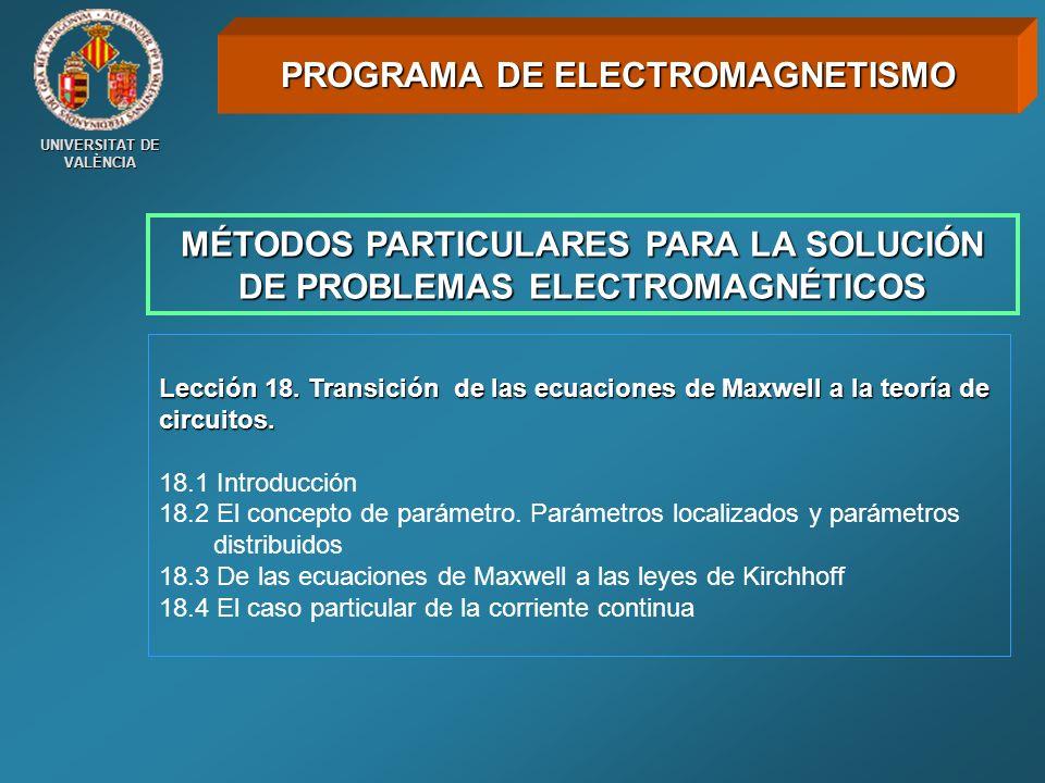 UNIVERSITAT DE VALÈNCIA MÉTODOS PARTICULARES PARA LA SOLUCIÓN DE PROBLEMAS ELECTROMAGNÉTICOS Lección 18. Transición de las ecuaciones de Maxwell a la