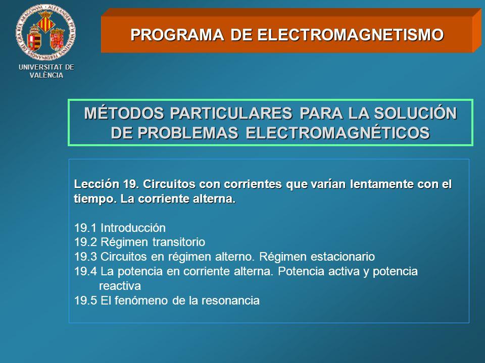 UNIVERSITAT DE VALÈNCIA MÉTODOS PARTICULARES PARA LA SOLUCIÓN DE PROBLEMAS ELECTROMAGNÉTICOS Lección 19. Circuitos con corrientes que varían lentament