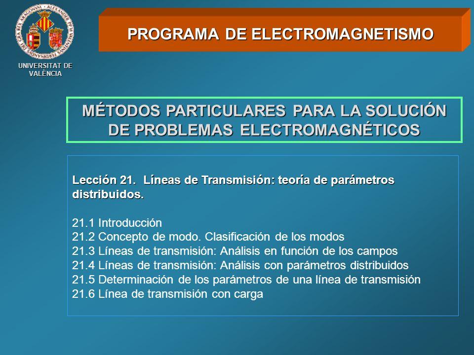UNIVERSITAT DE VALÈNCIA MÉTODOS PARTICULARES PARA LA SOLUCIÓN DE PROBLEMAS ELECTROMAGNÉTICOS Lección 21. Líneas de Transmisión: teoría de parámetros d
