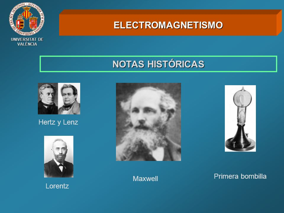 UNIVERSITAT DE VALÈNCIA NOTAS HISTÓRICAS ELECTROMAGNETISMO Hertz y Lenz Maxwell Lorentz Primera bombilla