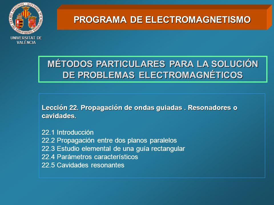 UNIVERSITAT DE VALÈNCIA MÉTODOS PARTICULARES PARA LA SOLUCIÓN DE PROBLEMAS ELECTROMAGNÉTICOS Lección 22. Propagación de ondas guiadas. Resonadores o c