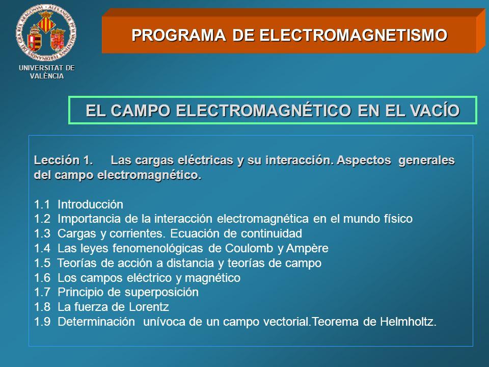 UNIVERSITAT DE VALÈNCIA EL CAMPO ELECTROMAGNÉTICO EN EL VACÍO PROGRAMA DE ELECTROMAGNETISMO Lección 1. Las cargas eléctricas y su interacción. Aspecto