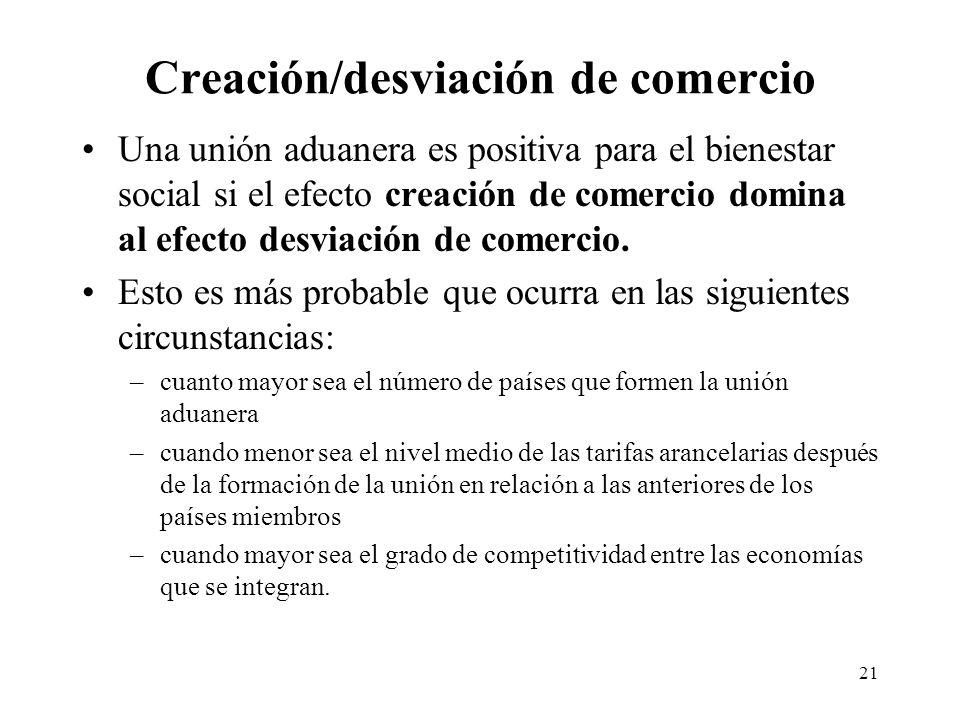 21 Creación/desviación de comercio Una unión aduanera es positiva para el bienestar social si el efecto creación de comercio domina al efecto desviaci