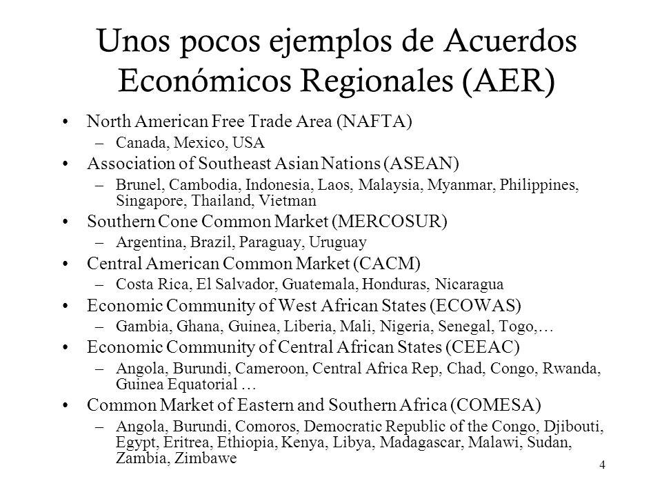 4 Unos pocos ejemplos de Acuerdos Económicos Regionales (AER) North American Free Trade Area (NAFTA) –Canada, Mexico, USA Association of Southeast Asi