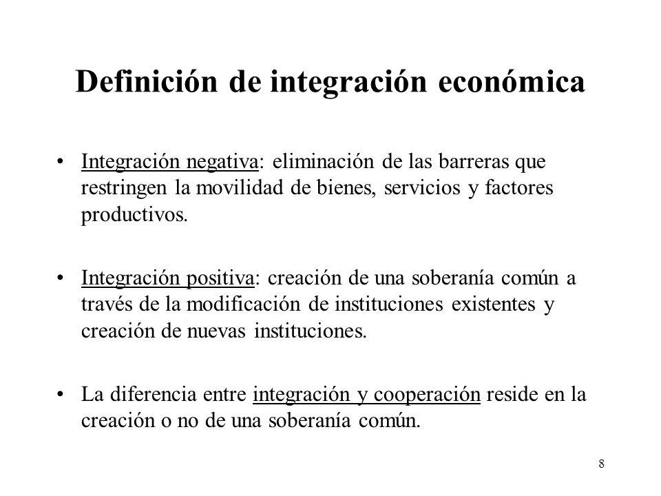 8 Definición de integración económica Integración negativa: eliminación de las barreras que restringen la movilidad de bienes, servicios y factores pr