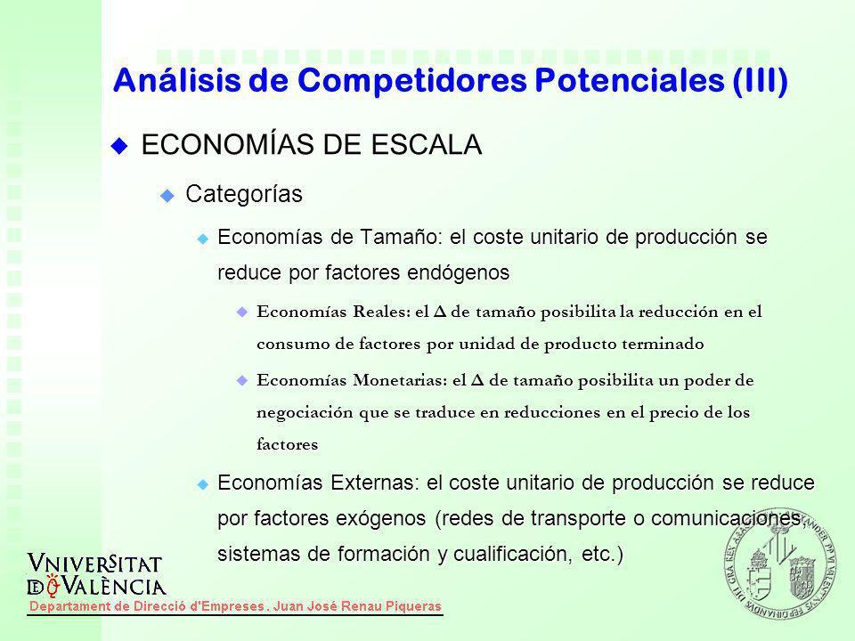 u ECONOMÍAS DE ESCALA u Categorías u Economías de Tamaño: el coste unitario de producción se reduce por factores endógenos u Economías Reales: el Δ de