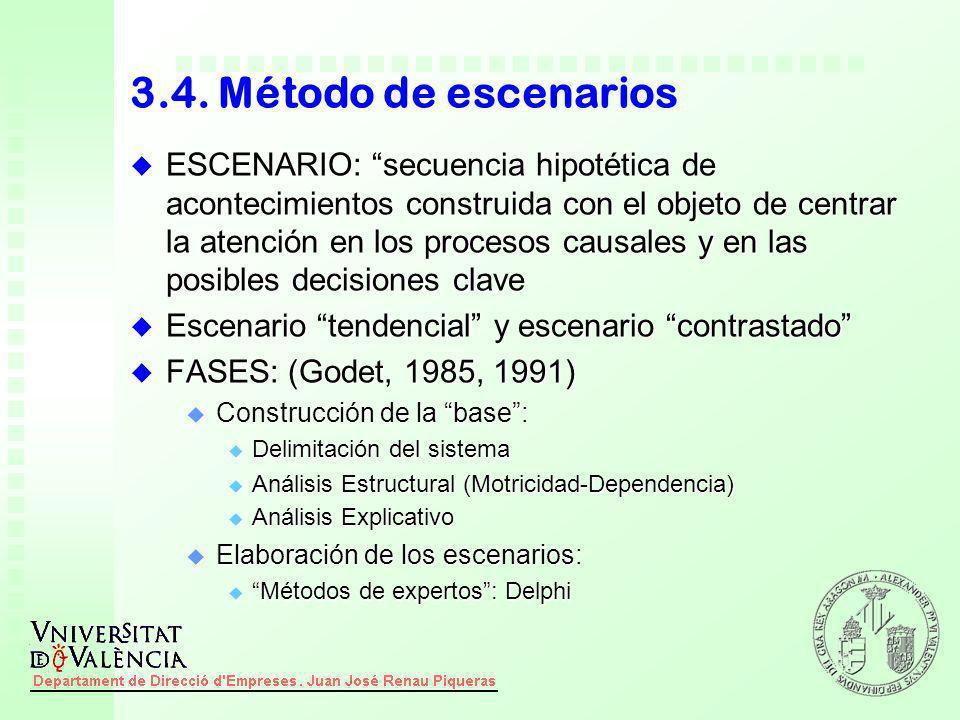 3.4. Método de escenarios u ESCENARIO: secuencia hipotética de acontecimientos construida con el objeto de centrar la atención en los procesos causale