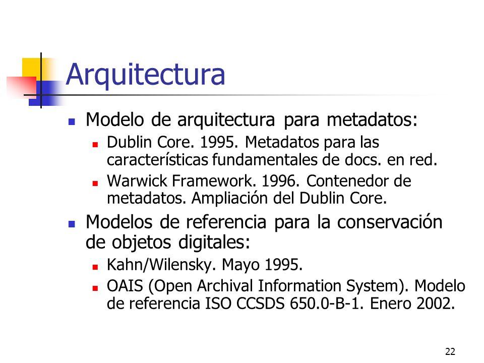 22 Arquitectura Modelo de arquitectura para metadatos: Dublin Core.