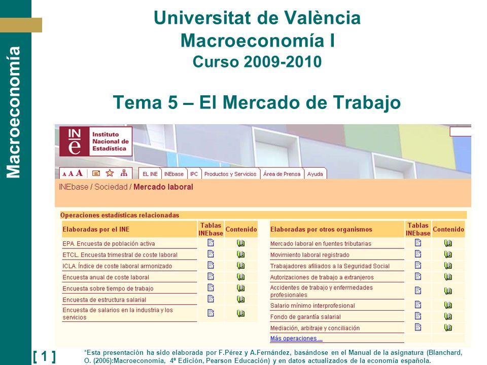 [ 1 ] Macroeconomía Universitat de València Macroeconomía I Curso 2009-2010 Tema 5 – El Mercado de Trabajo *Esta presentación ha sido elaborada por F.