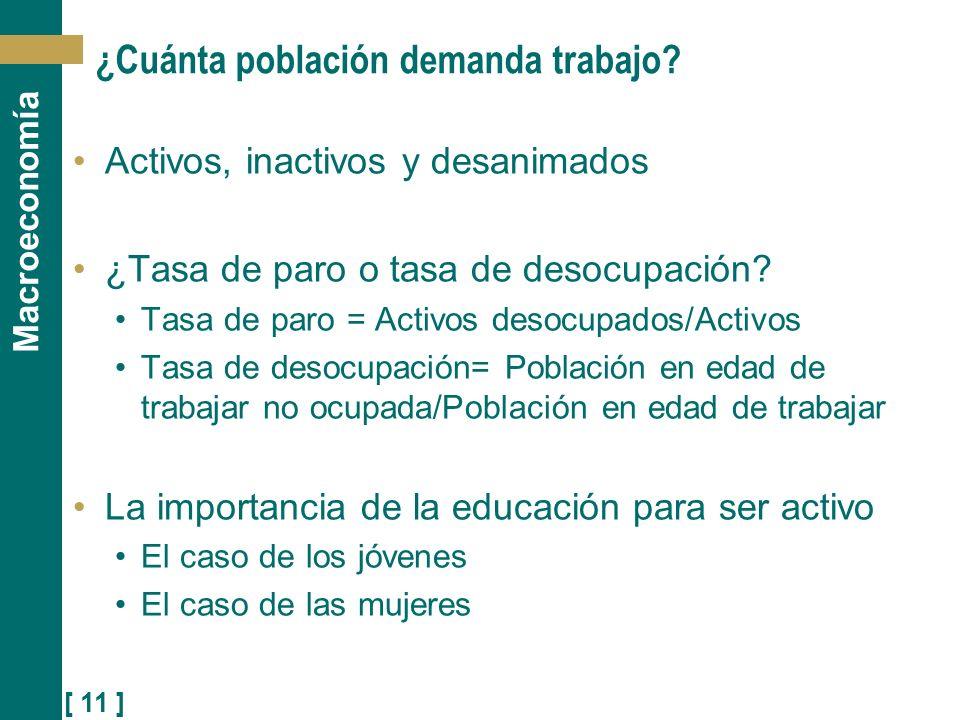 [ 11 ] Macroeconomía ¿Cuánta población demanda trabajo? Activos, inactivos y desanimados ¿Tasa de paro o tasa de desocupación? Tasa de paro = Activos