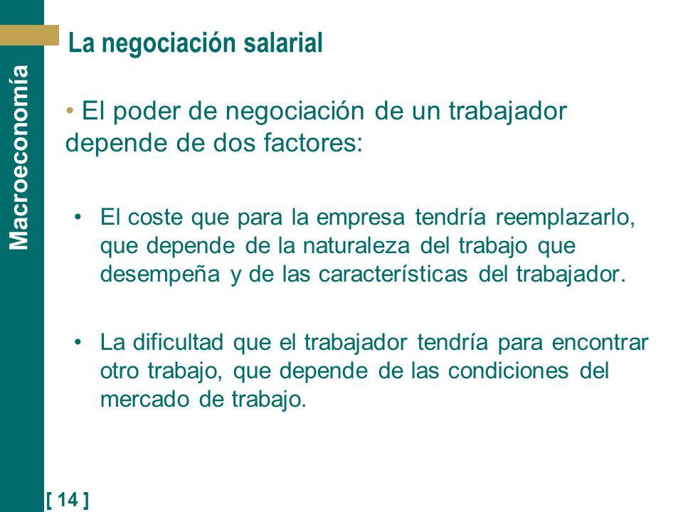 [ 14 ] Macroeconomía La negociación salarial El poder de negociación de un trabajador depende de dos factores: El coste que para la empresa tendría re