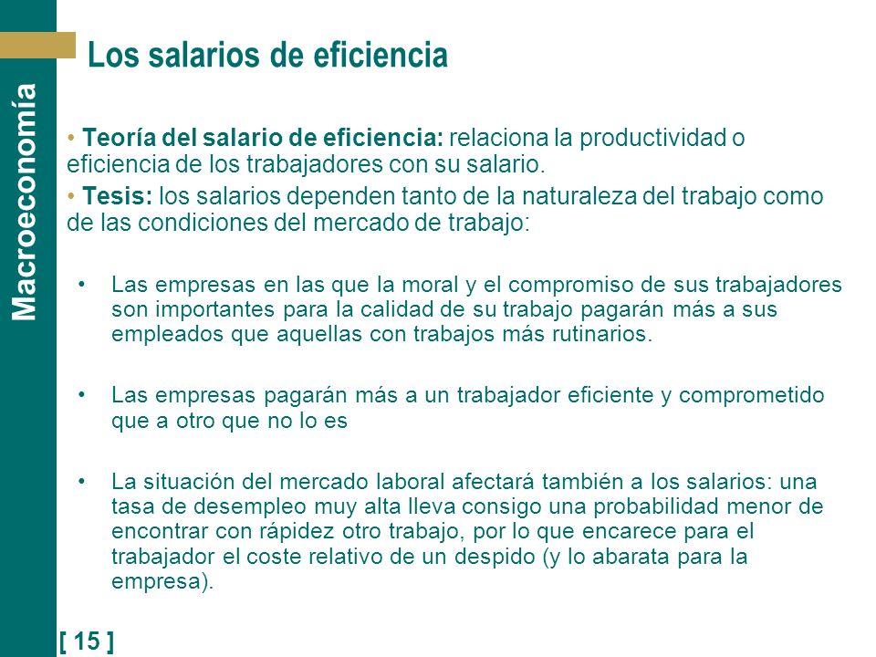 [ 15 ] Macroeconomía Los salarios de eficiencia Teoría del salario de eficiencia: relaciona la productividad o eficiencia de los trabajadores con su s
