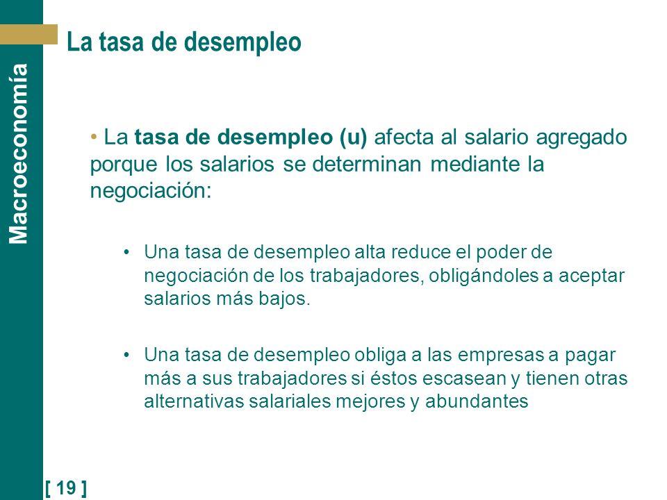 [ 19 ] Macroeconomía La tasa de desempleo La tasa de desempleo (u) afecta al salario agregado porque los salarios se determinan mediante la negociació