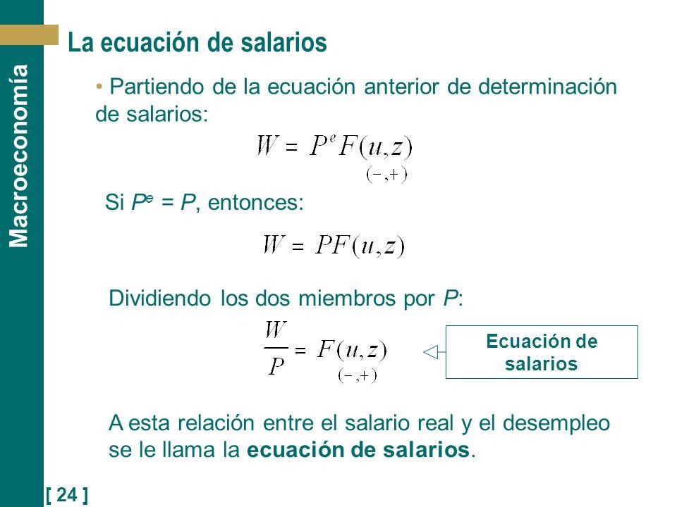 [ 24 ] Macroeconomía Dividiendo los dos miembros por P: A esta relación entre el salario real y el desempleo se le llama la ecuación de salarios. La e