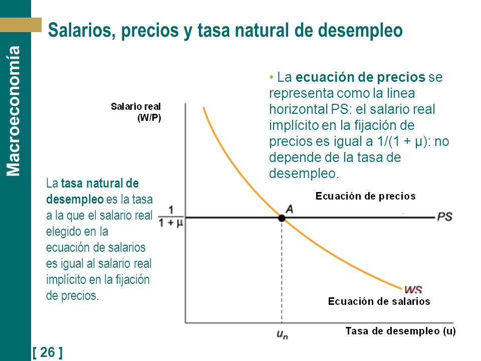 [ 26 ] Macroeconomía Salarios, precios y tasa natural de desempleo La tasa natural de desempleo es la tasa a la que el salario real elegido en la ecua
