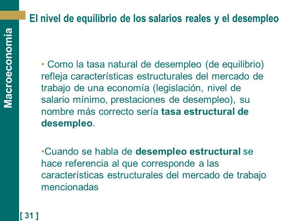 [ 31 ] Macroeconomía El nivel de equilibrio de los salarios reales y el desempleo Como la tasa natural de desempleo (de equilibrio) refleja caracterís