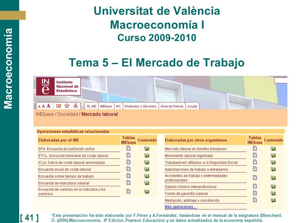 [ 41 ] Macroeconomía Universitat de València Macroeconomía I Curso 2009-2010 Tema 5 – El Mercado de Trabajo *Esta presentación ha sido elaborada por F
