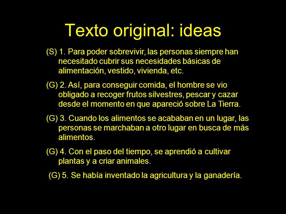 Texto original: ideas (S) 1. Para poder sobrevivir, las personas siempre han necesitado cubrir sus necesidades básicas de alimentación, vestido, vivie
