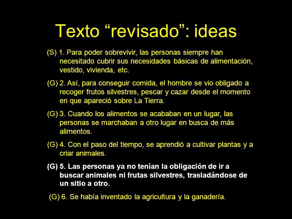 Texto revisado: ideas (S) 1. Para poder sobrevivir, las personas siempre han necesitado cubrir sus necesidades básicas de alimentación, vestido, vivie
