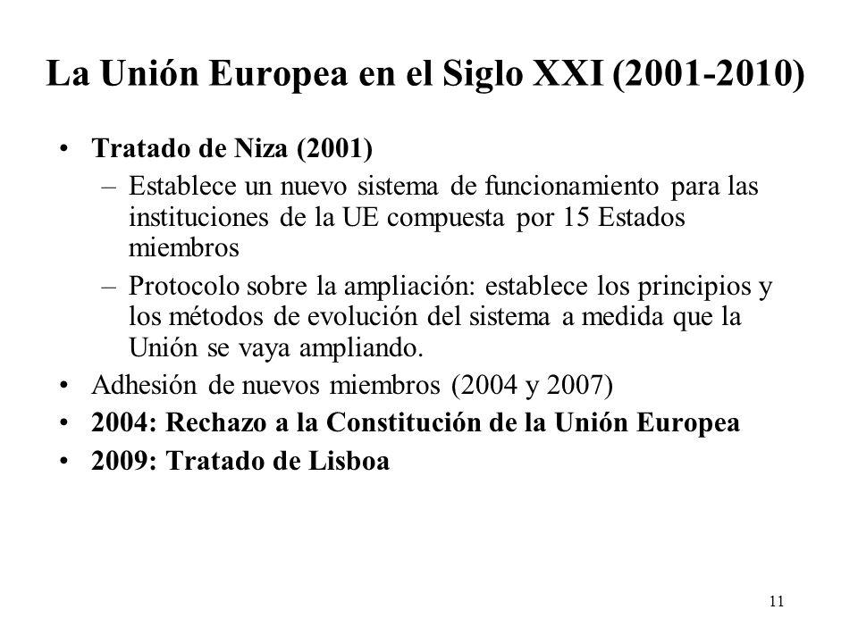 11 La Unión Europea en el Siglo XXI (2001-2010) Tratado de Niza (2001) –Establece un nuevo sistema de funcionamiento para las instituciones de la UE c