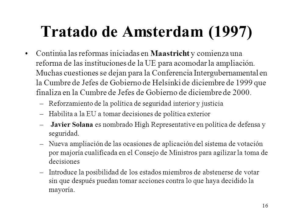 16 Tratado de Amsterdam (1997) Continúa las reformas iniciadas en Maastricht y comienza una reforma de las instituciones de la UE para acomodar la amp