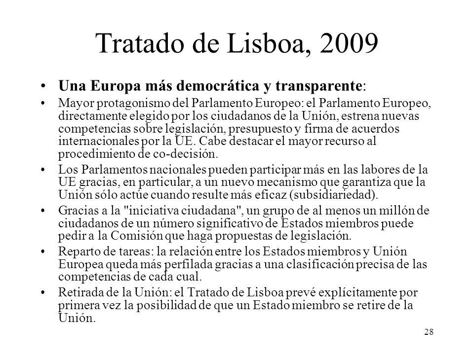 28 Tratado de Lisboa, 2009 Una Europa más democrática y transparente: Mayor protagonismo del Parlamento Europeo: el Parlamento Europeo, directamente e