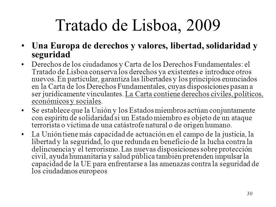 30 Tratado de Lisboa, 2009 Una Europa de derechos y valores, libertad, solidaridad y seguridad Derechos de los ciudadanos y Carta de los Derechos Fund
