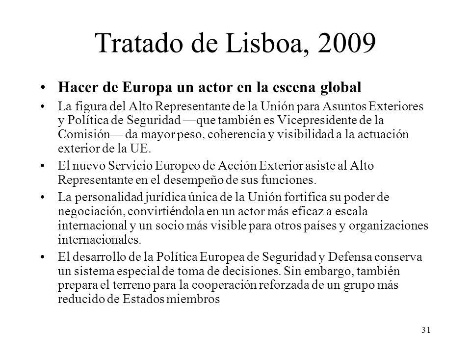 31 Tratado de Lisboa, 2009 Hacer de Europa un actor en la escena global La figura del Alto Representante de la Unión para Asuntos Exteriores y Polític