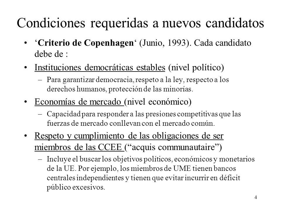 4 Condiciones requeridas a nuevos candidatos Criterio de Copenhagen (Junio, 1993). Cada candidato debe de : Instituciones democráticas estables (nivel