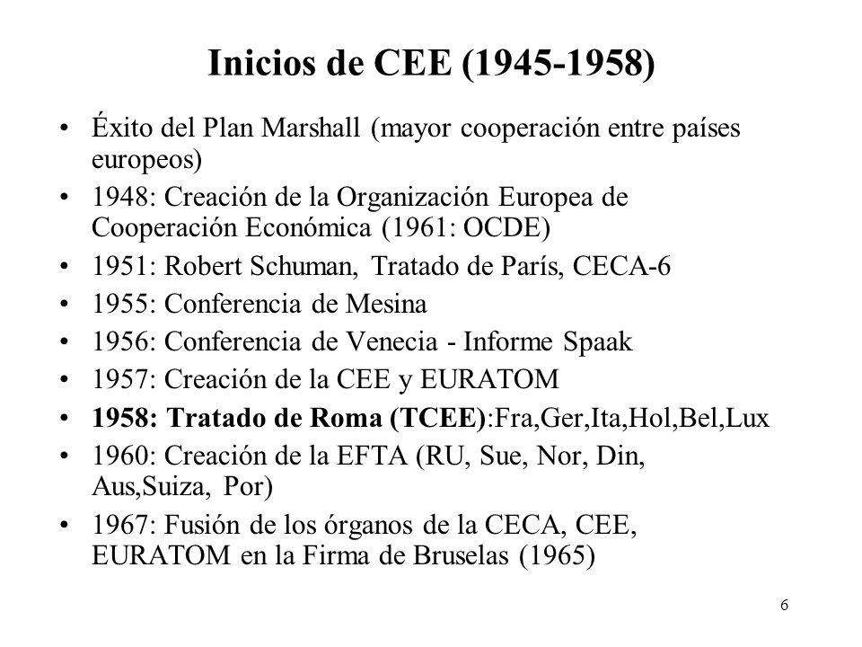 6 Inicios de CEE (1945-1958) Éxito del Plan Marshall (mayor cooperación entre países europeos) 1948: Creación de la Organización Europea de Cooperació