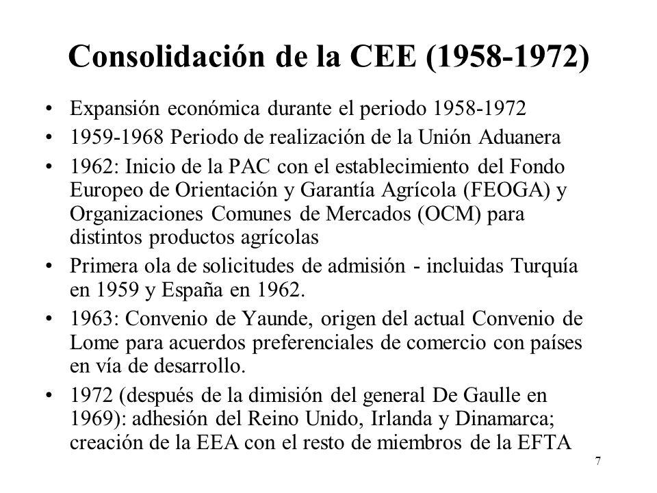 7 Consolidación de la CEE (1958-1972) Expansión económica durante el periodo 1958-1972 1959-1968 Periodo de realización de la Unión Aduanera 1962: Ini