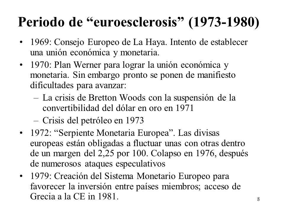 8 Periodo de euroesclerosis (1973-1980) 1969: Consejo Europeo de La Haya. Intento de establecer una unión económica y monetaria. 1970: Plan Werner par