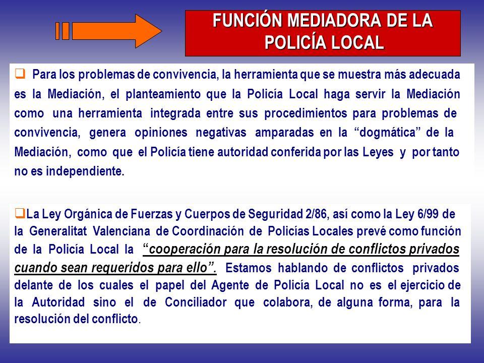 La Ley Orgánica de Fuerzas y Cuerpos de Seguridad 2/86, así como la Ley 6/99 de la Generalitat Valenciana de Coordinación de Policías Locales prevé co
