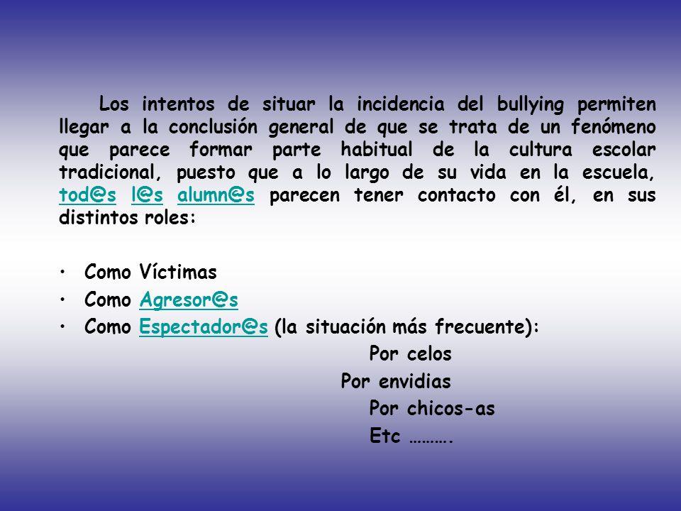 Los intentos de situar la incidencia del bullying permiten llegar a la conclusión general de que se trata de un fenómeno que parece formar parte habit