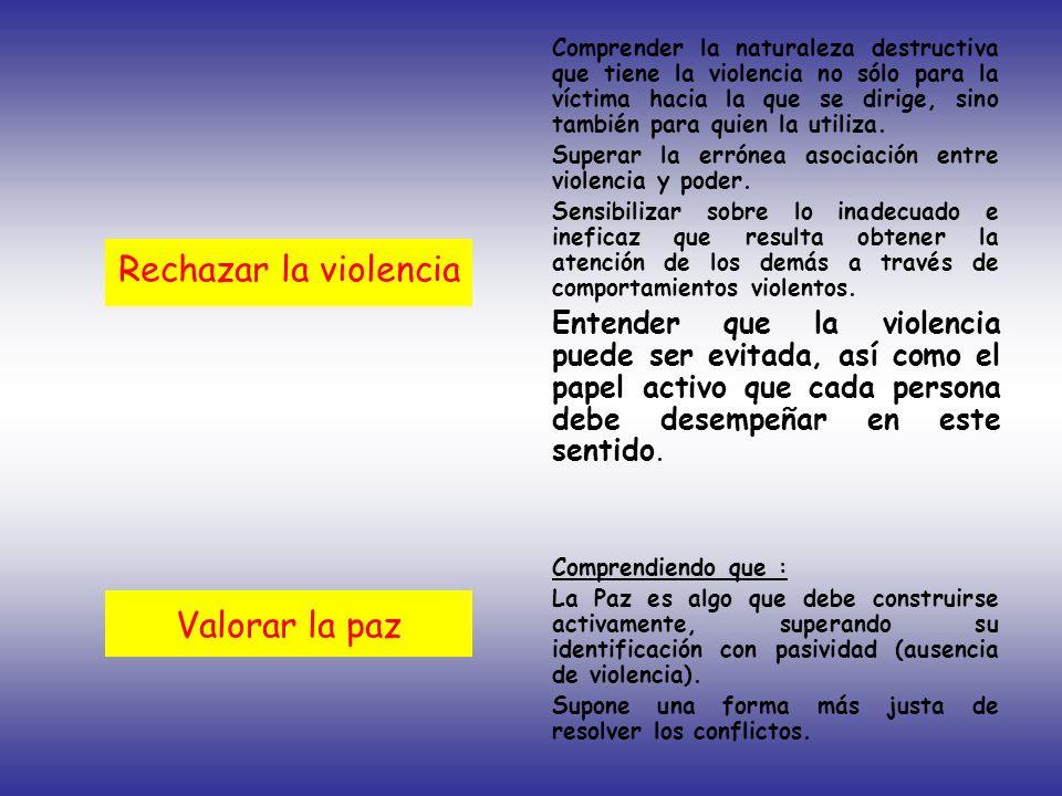 Rechazar la violencia Valorar la paz Comprender la naturaleza destructiva que tiene la violencia no sólo para la víctima hacia la que se dirige, sino