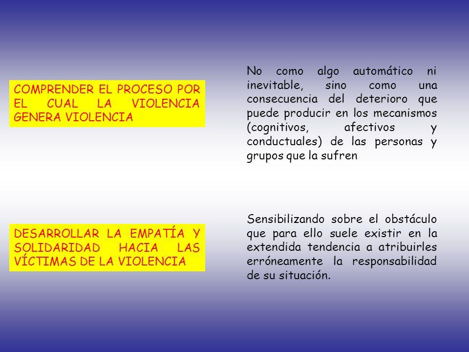 COMPRENDER EL PROCESO POR EL CUAL LA VIOLENCIA GENERA VIOLENCIA DESARROLLAR LA EMPATÍA Y SOLIDARIDAD HACIA LAS VÍCTIMAS DE LA VIOLENCIA No como algo a