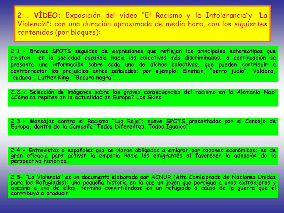 2-. VÍDEO: Exposición del vídeo El Racismo y la Intoleranciay La Violencia: con una duración aproximada de media hora, con los siguientes contenidos (