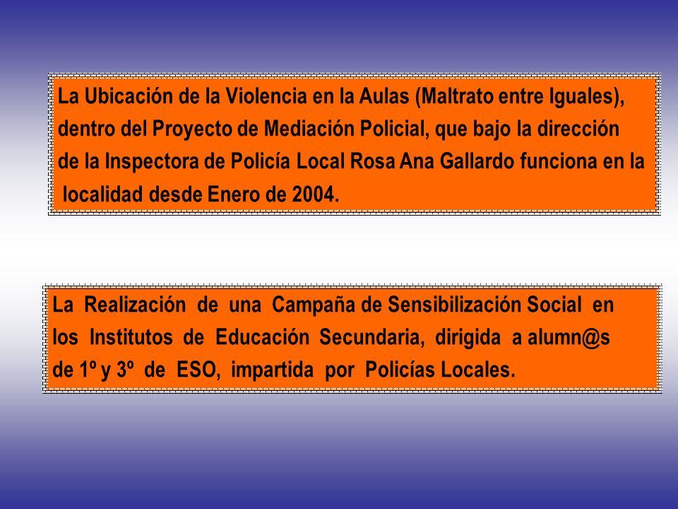 La Ubicación de la Violencia en la Aulas (Maltrato entre Iguales), dentro del Proyecto de Mediación Policial, que bajo la dirección de la Inspectora d